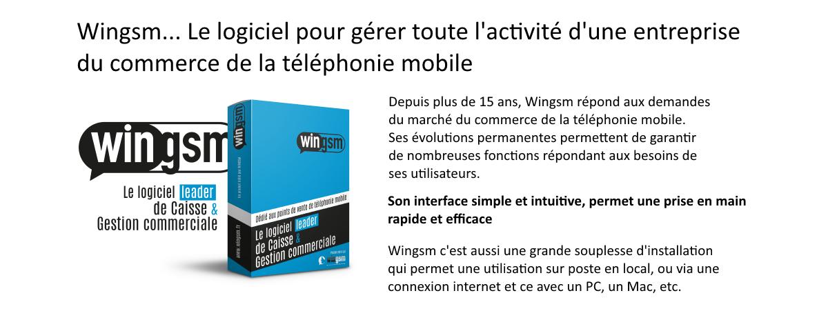 Depuis plus de 15 ans, Wingsm répond aux demandes du marché du commerce de la téléphonie mobile. Ses évolutions permanentes permettent de garantir de nombreuses fonctions répondant aux besoin de ses utilisateurs.